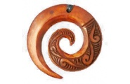 Koru Patterned Bone Pendant Stained