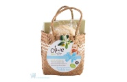 olive baby gift basket with teddy bear