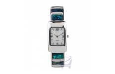 Gift Boxed Silver Bracelet Watch with Paua Insert