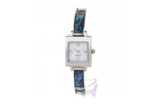 Gift Boxed Silver Rectangle Paua Watch