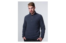 Men's Denim Wide Rib Zip Collar Jumper- Possumdown